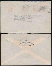 NEW ZEALAND METER FRANKING 1939 2d 1d 6d 1/- to GB..CAMPBELL EHRENFRIED AUCKLAND
