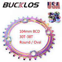 BUCKLOS 30-38T Narrow Wide 104bcd Colorful Chainring MTB Bike Chainwheel