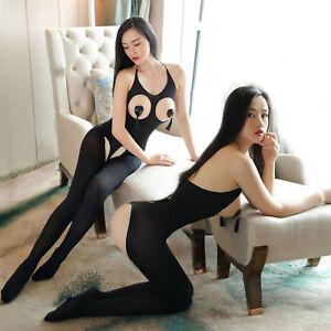 women BODYSTOCKING Crotchless Babydoll Sexy Lingerie Underwear Nightwear Catsuit