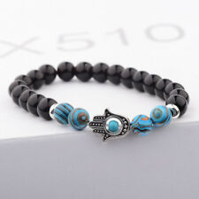 Charm Women Men Malachite Bracelets Lava Stone Stretch Hand of Fatima Hamsa Hand