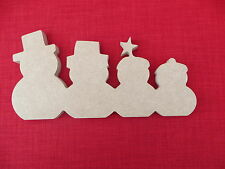 Snowman Family of 4 Free standing Wooden MDF christmas shape  15cm high