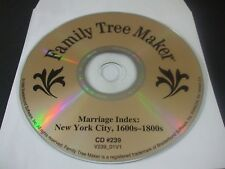 Family Tree Maker Cd #239 - Marriage Index New York City 1600s-1800s (Pc, 1998)