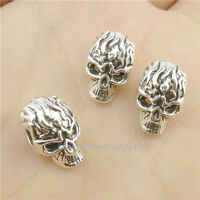 16854*30PCS Silver Vintage Skull Head 13mm European Beads Fit Bracelet Antique