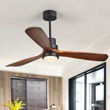 """Retro 52"""" LED Ceiling Fan Light 3 Dark Walnut Blades Ceiling Fan&Remote Control"""