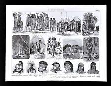 1874 Anthropology Print South American Indiginous Ticuna Warao Patagonian Caribs