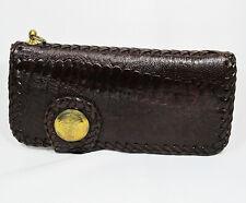 New Brown Genuine Leather Ostrich Claw Leg Skin Biker Men Bi-fold Long Wallet.