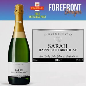 Personalised Prosecco bottle label, Perfect Birthday/Wedding/Graduation Gift