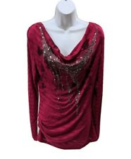 Miss Me Drape Neck Tunic Top Long Sleeve Beaded Womens L Pullover Burgundy