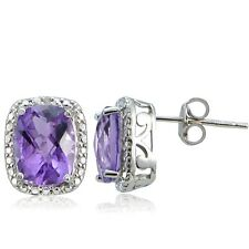 925 Silver 4ct Amethyst & Diamond Accent Cushion Cut Earrings