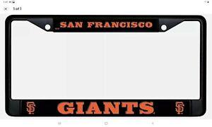 San Francisco Giants BLACK Premium Chrome Frame Metal License Plate Tag Cover
