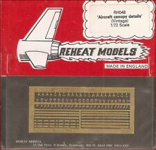 Reheat Models Photo-Etch Vintage Aircraft Canopy Details for 1/72 Scale Kit