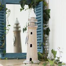 Leuchtturm aus Holz, Skulptur als maritime Deko, Zimmerdeko, Bad, 45 cm