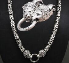 """30"""" HEAVY LION BALI BYZANTINE 925 STERLING SILVER MENS NECKLACE KING CHAIN PRE"""