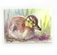 ACEO original Duckling painting bird art miniature listed by artist American