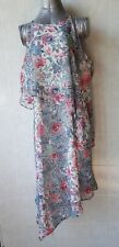 Katies Asymmetric Double Layer Dress, Lovely Floral Print, Sleeveless, Sz 14 NWT