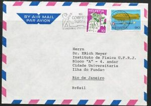 Switzerland 1975. Cover to Brazil. Publicity issue. Aviation. Airship.