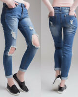 New Womens Celeb Ripped Skinny Ladies Jeans Stretchy High Waist Denim Pants 6-14
