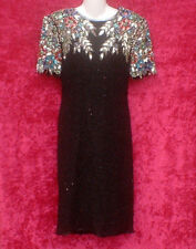 VINTAGE 80S GORGEOUS STENAY BLACK BEADED SEQUIN COCKTAIL PARTY DRESS SZ 8 WOW!