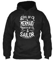 Long-lasting Soul Of A Mermaid Mouth Sailor - Gildan Gildan Hoodie Sweatshirt