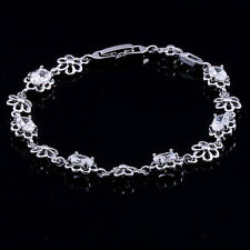 10K White Gold Filled GF CZ Flowers Link Bracelet Bangle 19.5cm Long 8mm Wide