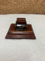 Antique Art Deco Heavy  Glass  Inkwell With Glass Lid
