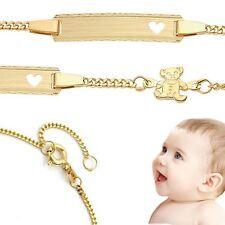Baby Taufe Herz Armband mit Teddy Bär mit Gravur Namen und Datum Silber 925 verg