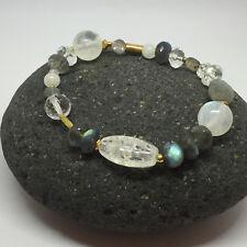Edelstein Armband Labradorit, Bergkristall, Mondstein,vergoldete Schmuckelemente