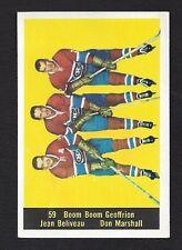 1960 Parkhurst #59 Beliveau, Geoffrion, Marshall, Montreal Canadiens NHL 1960-61