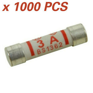 1000 x CERAMIC 3 AMP FUSE BS1362 DOMESTIC HOUSEHOLD MAINS PLUG CARTRIDGE FUSE