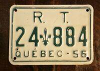 1956 QUEBEC R.T. Canada License Plate 24 - 884.  Original Paint.