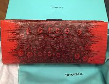 Tiffany & Co.Red&Black Lizard Clutch NIB with Turquoise Pouch and White Dust Bag