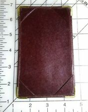 "Note Jotter Hard Leather Gold Corners 3.5"" x 5.5"" Index Card Sized Pocket"