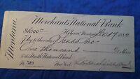 Bank Check, Large size Bank check from Merchant's National Bank 1884 $1000