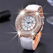 Luxury Women Watch Bling Crystal Dial Quartz Analog Leather Bracelet Wrist UK