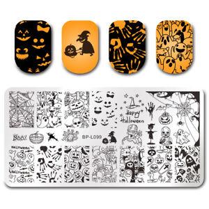 BORN PRETTY Stamping Plates Halloween Pumpkin Ghost Nail Art Image Template DIY