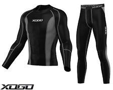 Mens Compression Shirt + Tights Set Running Base Layer Fit Set Gym Skin - NEW