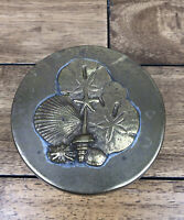 Vintage Brass Container Lid With Seashells