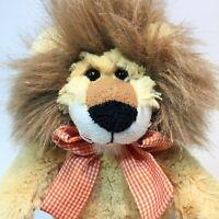 "Animal Adventure Plush Lion Orange Gingham Bow Paws Stuffed Animal Toy 13"""