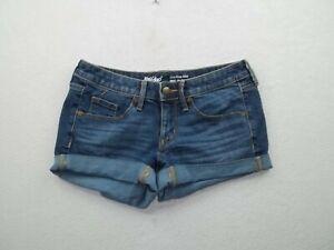 "Mossimo Mid Rise Midi Womens denim cuffed blue jean shorts Size 00 Inseam 2"" #2"