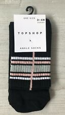 Ladies/Girls Black With Pink & Grey Stripes Sporty Cotton Tube Ankle Socks