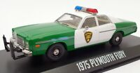 Greenlight 1/43 Scale Model Police Car 86595 - 1976 Plymouth Fury - Green/White