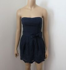 NWT Hollister Womens Strapless Eyelet Dress Size Small Navy Blue Bow