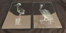 2 Dick Ayre Etched Glass Art Seabirds Pelican Heron Egret Birds Sea Shore Beach