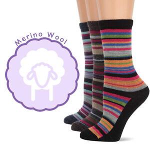 Wise Blend Womens Stripe Pattern Colorful Merino Wool Crew Boot Socks 3 Pair