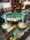 ROSEVILLE CLEMATIS CENTERPIECE CONSOLE BOWL AND MATCHING CANDLE STICKS.
