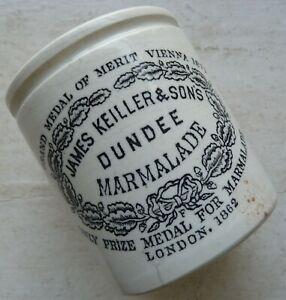1 lb size dumpy shape JAMES KEILLER DUNDEE marmalade pot crock C 1890s.