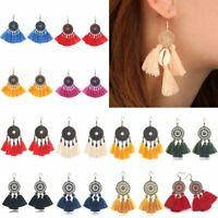 Women Bohemian Tassel Fringe Earrings Drop Dangle Geometric Jewelry Gift Party