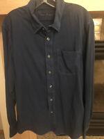 TOMMY BAHAMA Tencel Blend Long Sleeve Navy Blue Button Down Shirt Size L EUC