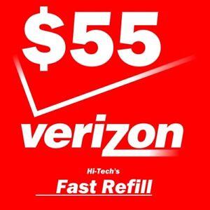 $55 VERIZON PREPAID FASTEST ONLINE REFILL > 25yr USA TRUSTED DEALER <