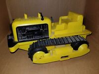 Ideal Vintage Wind Up Yellow Plastic Tractor Forward & Reverse with Treads
